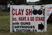 Sign advertising the Clay Shoot at the Pymoor Show 2011