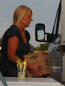 Pat Golding loading Cider into the Chiller Van ready for the Pymoor Show 2011