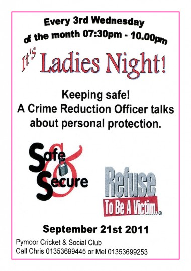 The Ladies of Pymoor enjoyed an evening at the Pymoor Cricket & Social Club with a Crime Reduction Officer talking about personal protection, Sept 2011.