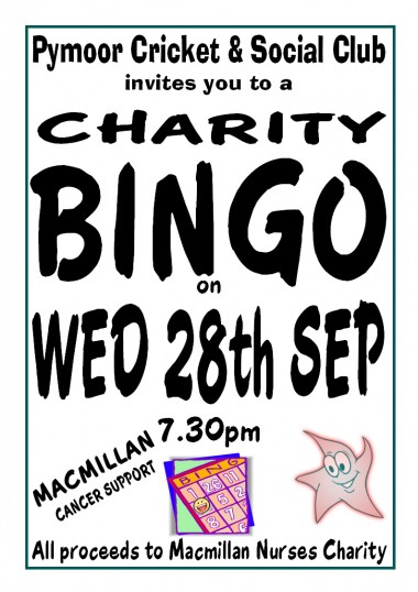 The Pymoor Social Club held a Charity Bingo in the clubhouse in Pymoor Lane. £160 was raised for MacMillan Cancer Relief 2011.