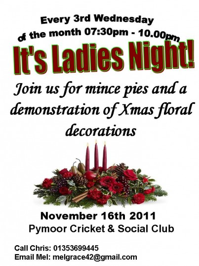The Ladies of Pymoor enjoyed an evening of Mince Pies & a demonstration of Christmas floral decorations by Pam Golding in the Pymoor Cricket Club, Nov 2011.