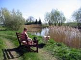 Cynthia Parson enjoys the Spring sunshine at Oxlode Lakes, Pymoor.