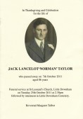 Funeral Service sheet of Norman Taylor of Pymoor, who passed away on 7th October 2011 aged 86 years.