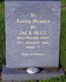 Grave in Little Downham Cemetery of Jack Bell of Pymoor who passed away on the 27th January 1994, aged 77 years.
