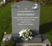 Grave in Little Downham Cemetery of David Savage of Pymoor who passed away on the 17th November 2008 aged 72 years.