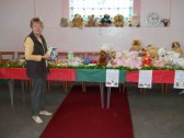Joan Butcher with her 'Teddies' at the Pymoor & Coveney Methodist Chapels's Christmas Bazaar, held in the Chapel in Main Street, Pymoor, 2011.