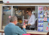 Norman Golding is first in the queue at the Ice Cream Van at the Royal Wedding Fun Day in Pymoor.