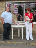 Basil Taylor makes a 'Thank You' speech at the Royal Wedding Fun Day in Pymoor 2011.