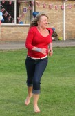 Karen Bateman playing Rounders at the Royal Wedding Fun Day in Pymoor.