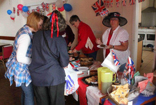 Serving refreshments at the Royal Wedding Fun Day in Pymoor 2011.