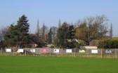 Advertising boards at the Pymoor Cricket Club, Pymoor Lane, Pymoor.