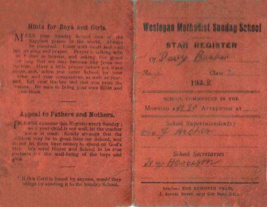Percy Barker's Wesleyan Methodist Sunday School Star Register (Attendance Card), Oxlode, Pymoor.