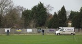 Paul Barrow & Steve Saberton repairing the Pymoor Cricket Club fence after it had blown down in high winds.