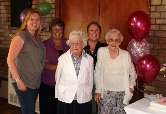 Joan & Vera Saberton celebrated their birthdays with a party at the Pymoor Cricket & Social Club, Pymoor.