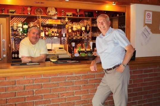 Bill Dennis & Roger Davis at Joan & Vera Saberton's birthday party at the Pymoor Cricket & Social Club, Pymoor.