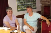 Rosemary Davis & Inger Van Ogtrop at Joan & Vera Saberton's birthday party at the Pymoor Cricket & Social Club, Pymoor.