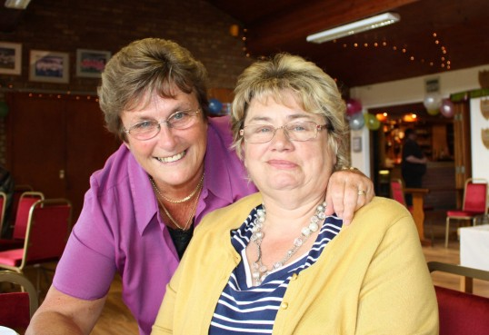 Cynthia Parson & Gail Taylor at Joan & Vera Saberton's birthday party at the Pymoor Cricket & Social Club, Pymoor.
