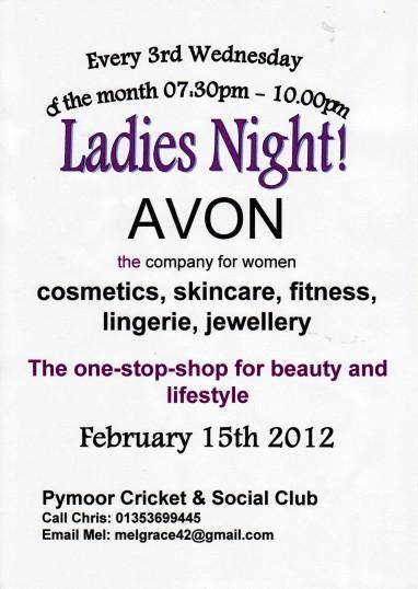 It's Ladies Night at the Pymoor Cricket & Social Club, Feb 2012