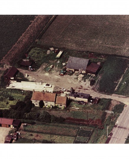 Aerial view of Denmark House, Straight Furlong, Pymoor, 1971.