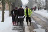 Pymoor villagers, Inger Van Ogtop and Julie & Steve Knowles take Julie's dog Ruby for a walk in the snow 2012.