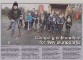 Article in the Ely Standard about the launch of a fundraising campaign for skateparks in Pymoor & Little Downham.