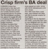 Article in the Ely Standard about Corkers Crisps of Pymoor who have recently negotiated a large contract to supply British Airways with crisps.