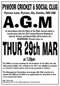 The Pymoor Cricket & Social Club are holding their Annual General Meeting on Thurs 29th March at 7.30pm in the Clubhouse in Pymoor Lane, Pymoor.