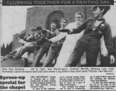 Newspaper article about members of the Ely & District Young Farmers' Club painting the Methodist Chapel in Main Street, Pymoor.