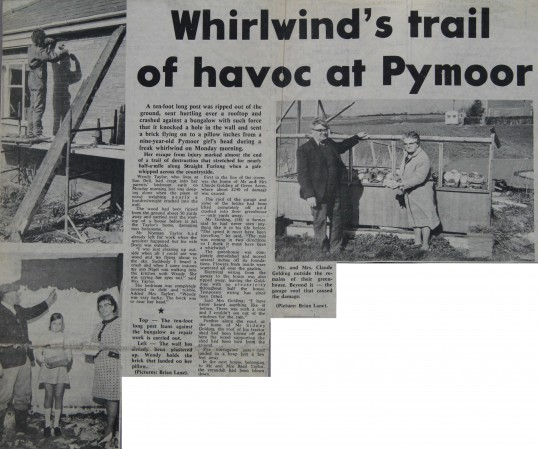 Newspaper article about a severe storm to hit Pymoor.1972