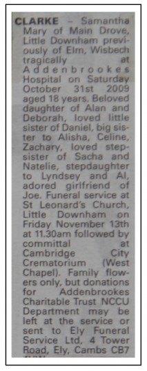 Newspaper cutting announcing the passing of Samantha Clarke of Main Drove, Little Downham, Pymoor 2009.
