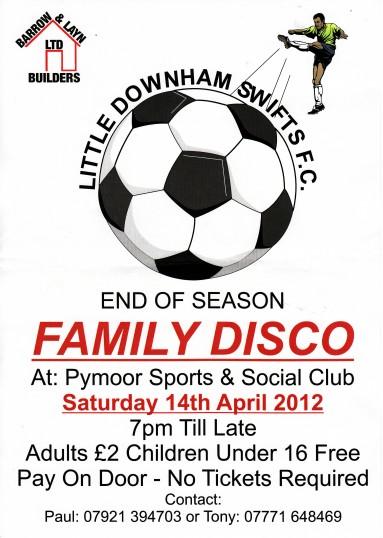 Little Downham Swifts FC held a Family Disco at the Pymoor Cricket Club, Pymoor Lane, Pymoor, 2012.