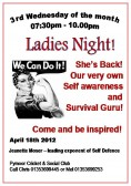 It was Ladies Night at the Pymoor Cricket & Social Club. Jeanette Moser gave an inspiring talk on self awareness & survival 2012.