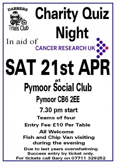 Gary Palmer & the Dabbers Trials Club held a Charity Quiz Night at the Pymoor Cricket & Social Club in Pymoor Lane, Pymoor 2012.
