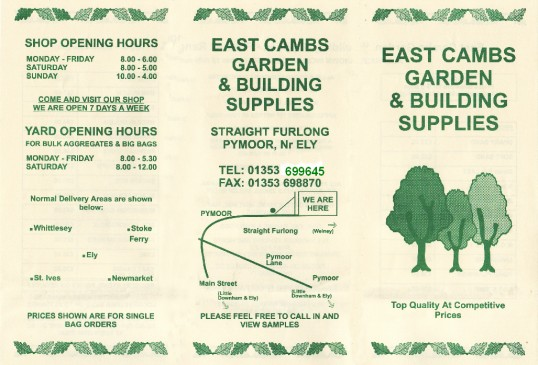 Brochure for East Cambs Garden & Building Supplies, of Straight Furlong, Pymoor.