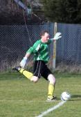 Paul Barrow of Pymoor is the Little Downham Swifts FC goalkeeper. Little Downham Swifts play their home games in Pymoor, 2012.