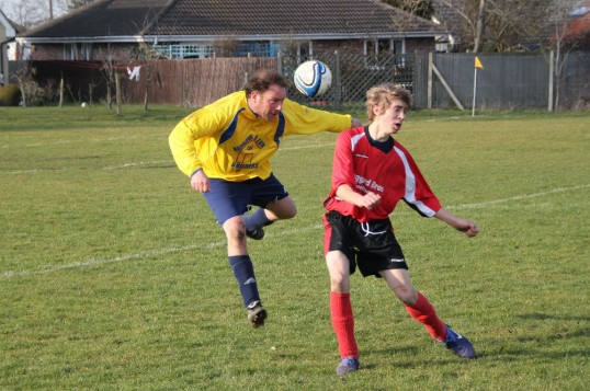 Tony Ure playing for Little Downham FC at the club's home ground in Pymoor, 2012