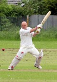 Mark Brown in play for Pymoor CC in their first home game of the season against Sutton CC. Pymoor won by 31 runs, 2012.