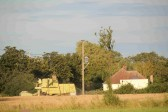 Harvesting a field of wheat, off Pymoor Lane, Pymoor. Eric Barker on a Combine Harvester.