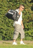 Shaun Butcher of Pymoor makes his way home after playing cricket for Pymoor CC .