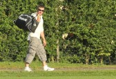 Shaun Butcher makes his way home after playing for Pymoor CC against Doddington CC on the Pymoor Cricket Club ground, 2012.
