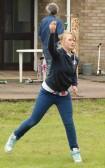 Laura Butcher, 'wellie throwing', at the Diamond Jubilee Fun Day in Pymoor 2012.
