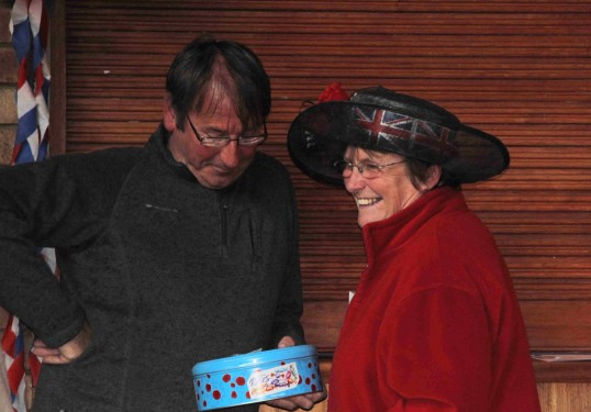 Steve Knowles & Cynthia Parson share a joke at the Diamond Jubilee Fun Day in Pymoor 2012.