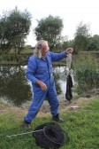 Tony Rudderham weighs the catch at the Roger Parson Memorial Charity Fishing Match 2012 at Oxlode Lakes, Oxlode, Pymoor.