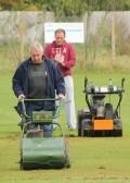 Pitch maintenance at the Pymoor Cricket Club, Pymoor Lane, Pymoor, 2012.