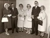 Naomi Packer, Arthur (Bob) Martin, Maud Fenn, Lily Aston, Sid Martin & Eva Saberton at a wedding. (Pymoor). Arthur (Bob) Martin