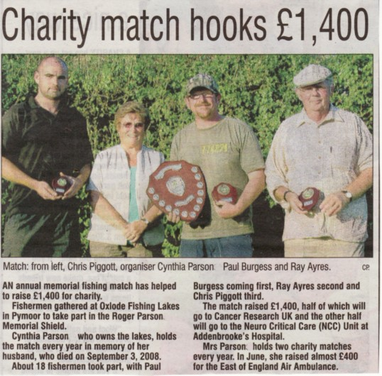Article in Ely Weekly News about the Roger Parson Memorial Charity Fishing match held at Oxlode Lakes, Pymoor 2011.