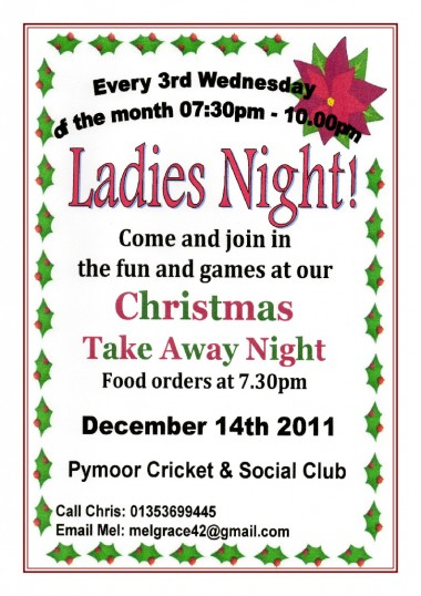 The Ladies of Pymoor enjoyed a 'Take Away' meal and an evening of Christmas fun & games in the Pymoor Cricket & Social Club, Pymoor, Dec 2011.