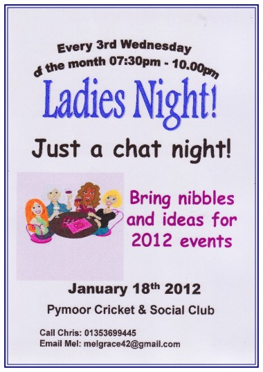 The ladies of Pymoor met for a chat in the Pymoor Cricket & Social Club & brought along nibbles and ideas for 2012 events.