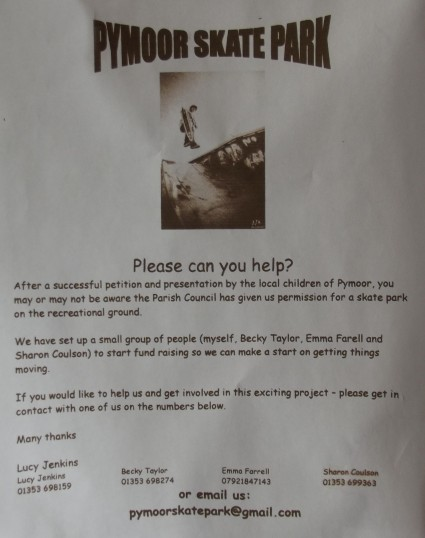 Appeal for fundraising support for a Skate Park for children in Pymoor.