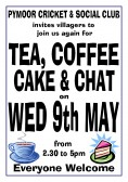 Pymoor Cricket & Social Club hold a Tea & Coffee afternoon on the 2nd Wednesday each month in the clubhouse in Pymoor Lane 2012.